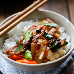 Double Cooked Sliced Pork on Rice 回锅肉饭