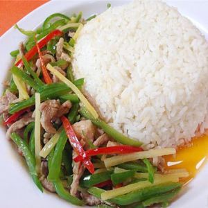 Green and Red Chili with Pork on Rice 辣椒炒肉饭