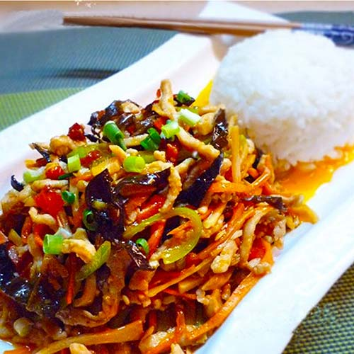 Shredded Pork with Hot Garlic Sauce on Rice 鱼香肉丝饭