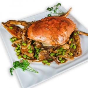 Shanghai Style Crab with Rice Cakes and Edamame 毛豆年糕蟹