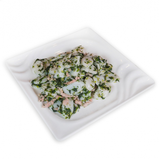 17. Rice Cakes with Shepherd's Purse & Shredded Pork 薺菜肉絲炒牛糕