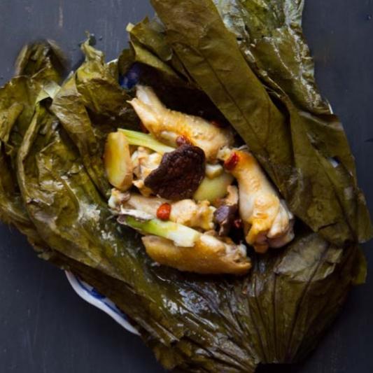 89. Steamed Chicken and Goji Berry Lotus Leaf