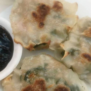 22. Pan Fried Pork, Shrimp & Chive Dumplings (3 pcs) 煎韭菜餅