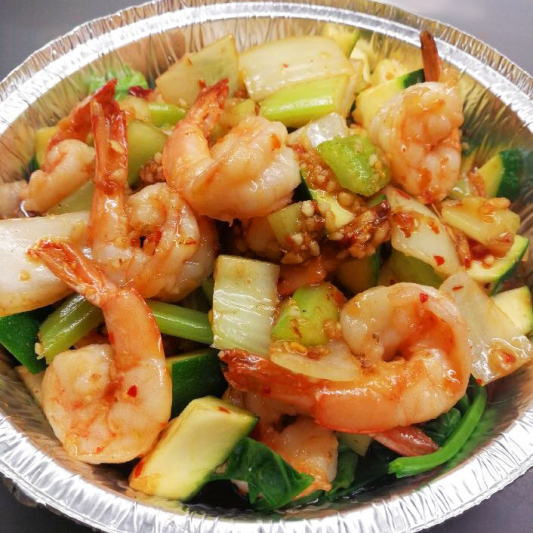 66. Prawn with hot Garlic Sauce