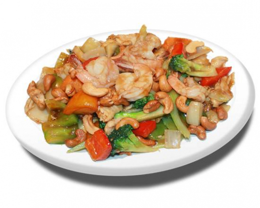 55.  Cashew Chicken and Shrimps
