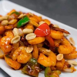 614. Kung Bao Crevettes Epicées Fort avec des Arachides / Kung Bao Hot Spicy Shrimps with Peanuts / 宫保虾仁