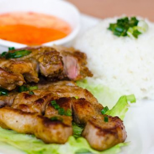 Grilled Pork Chop, Lemongrass Chicken with Rice
