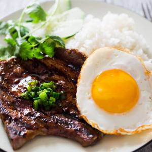 Grilled Pork Chop, Egg with Rice
