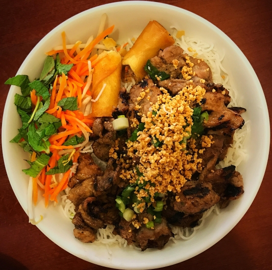 Grilled Pork, Spring Roll with Vermicelli
