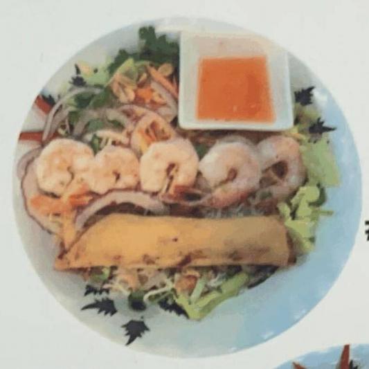 #81. Grilled Prawn and Spring Roll with Vermicelli (Bún Tôm Nướng, Chá Gi)