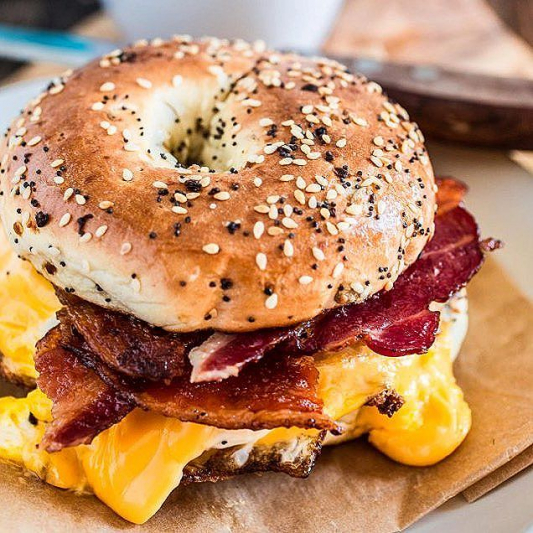Breakfast Egg and Cheese and Bacon on Bagel