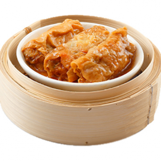 9113. Seafood & Meat Rolls in Abalone Gravy 瑶柱汁鲜竹卷