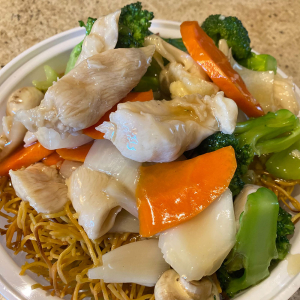 Chicken and Mixed Veg. on Crispy Noodle
