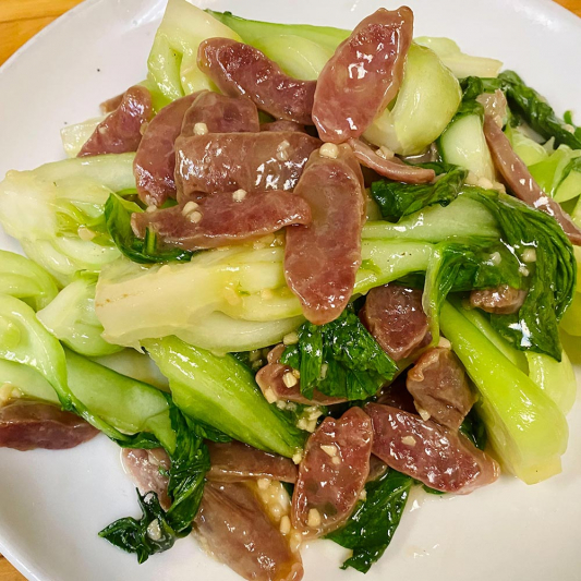 Chinese Sausage with Green Bok Choy Chop Suey