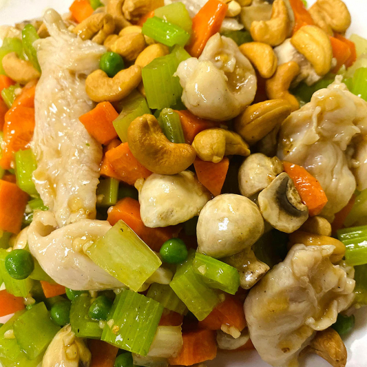 Diced Chicken with Almonds or Cashew Nuts