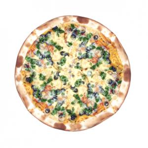 Пицца с курицей, маслинами и шпинатом