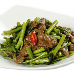 49. Sautéed Beef with Tong Choy in Satay Sauce
