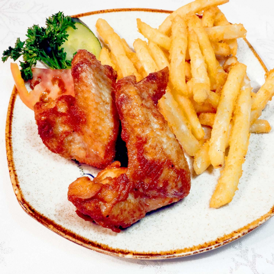 7. Deep Fried Chicken Wings with Fries