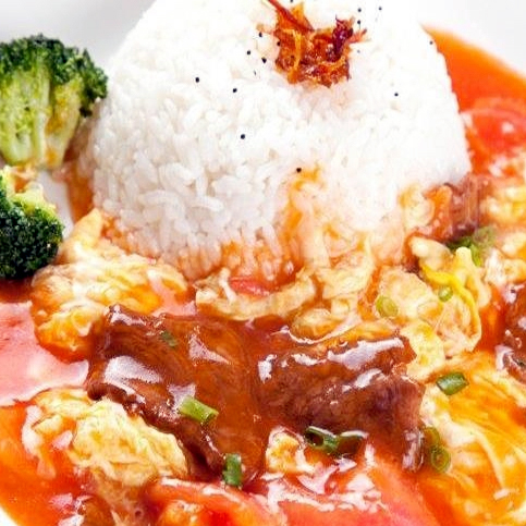 15. Beef, Egg & Fresh Tomato on Rice