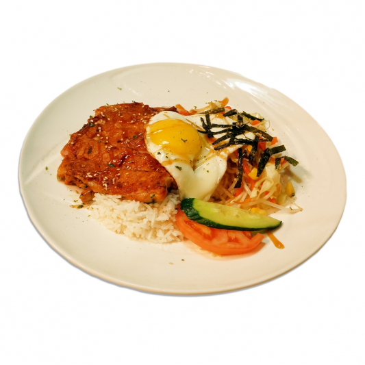 17. Japanese Style Chicken Steak & Egg on Rice
