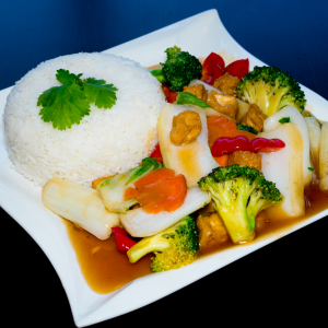 E14- Stir-fried Mixed Vegetables with rice