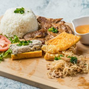 E03- Rice with 4 Flavours Grilled Pork Chop, Baked Egg, Shrimp Bean Curd, Shredded Pork &  Shredded Pork Skin