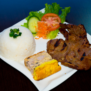 E01 - Grilled Pork Chop & Baked Egg with Rice