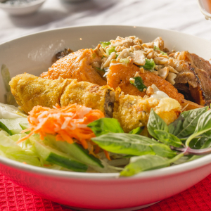 D04- Grilled Pork, Spring Rolls & Minced Shrimps on Sugar Cane with  Vermicelli