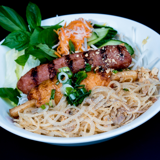 D08- Pork Sausage, Minced Shrimps on Sugar Cane, Shredded Pork &  Shredded Pork Skin with Vermicelli