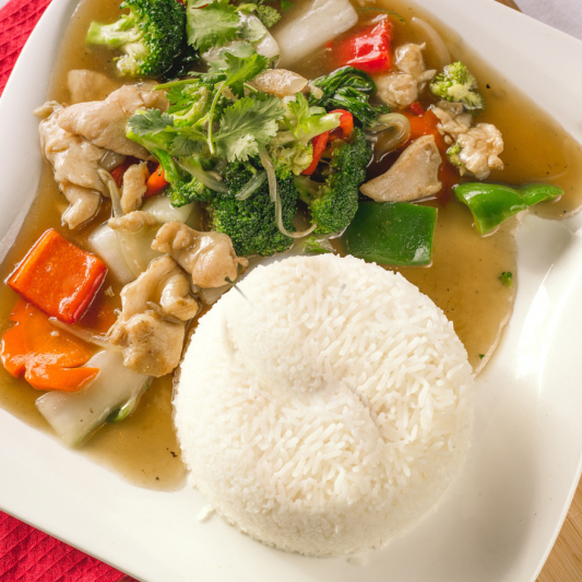 E10- Stir-fried Chicken & Vegetables with Rice