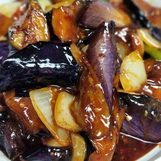 V6. Spicy Eggplant in Chilli Garlic Sauce