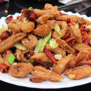 34. Deep Fried Pork Intestine with Sweet and Sour Sauce