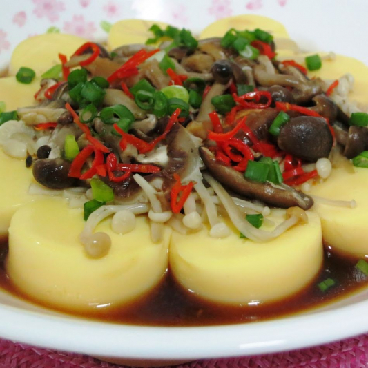 223. Chinese Mushroom and Egg Tofu in Oyster Sauce
