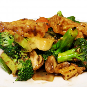 T8 Fried Bean Curd with Vegetables in Black Bean Sauce