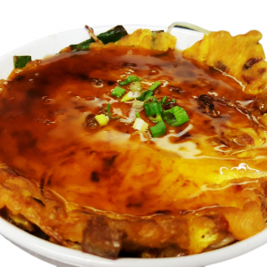 E5 BBQ Pork Egg Foo Yong with Gravy