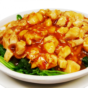 C15. Diced Chicken in Chili & Garlic Sauce with Spinach