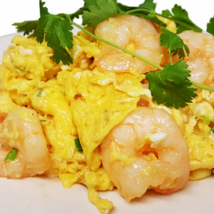 E1 Fried Eggs with Prawns