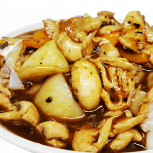 M25. Fried Rice Noodle with Chicken in Black Bean Sauce