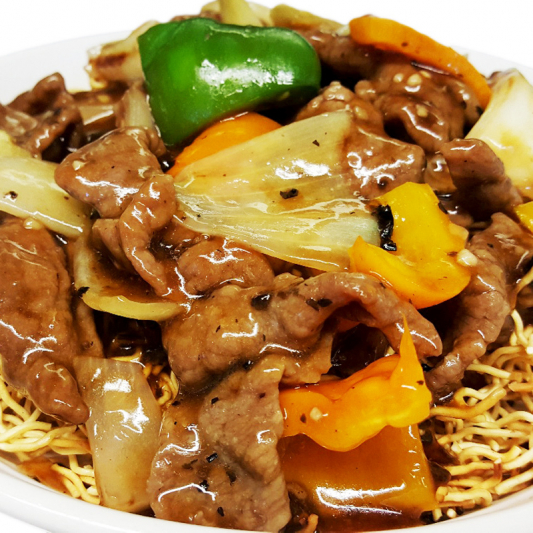 M10 Beef in Black Bean Sauce Chow Mein