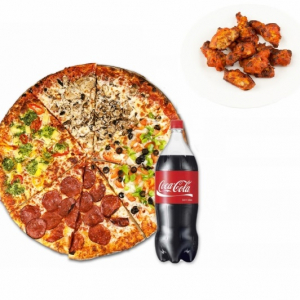 1 Large Pizza 3 Toppings (20 wings & 2 Cans of Pop)