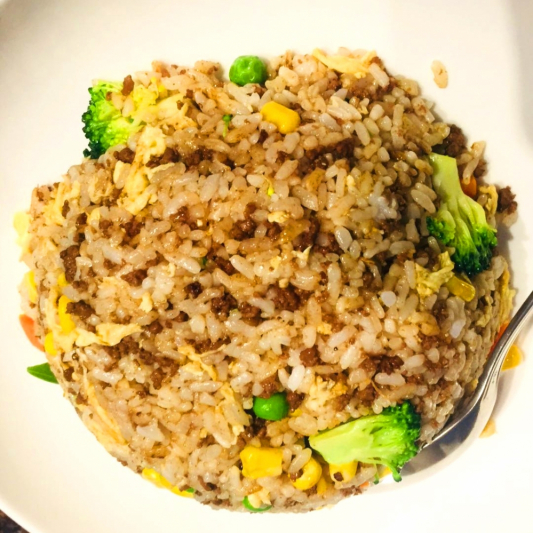 Fried Rice with Egg and Ground Beef