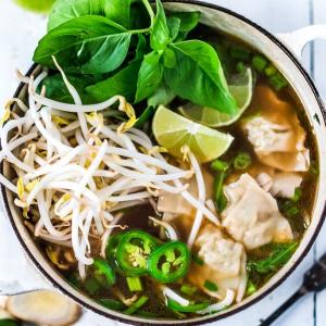 17. Wonton Noodle Soup w/ Bean Sprouts