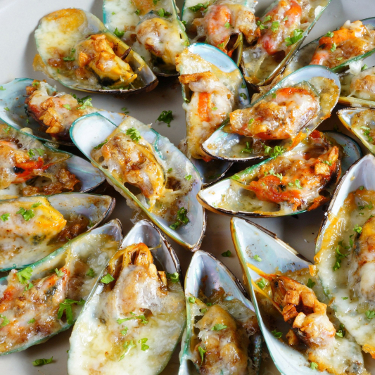 25. Baked Mussel (6pcs)