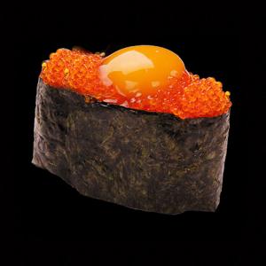 Tobiko with Quail Egg Nigiri