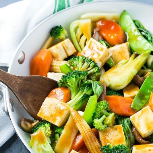 Tofu and Mixed Vegetables Vegan
