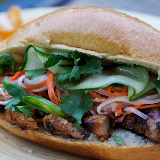 13. Grilled Lemongrass Chicken or Pork with French Bread