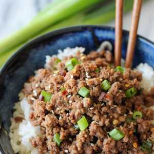 195. Assorted Soya Beef on Rice
