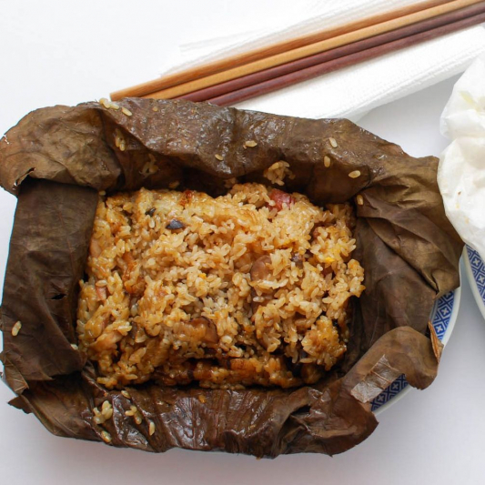21. Steamed Sticky Rice Wrapped in Lotus Leaf
