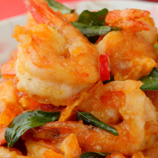 Prawns with a Special Egg Yolk Sauce and Squash - Tom Chien Voi Long Trung Do Va Bi Dau
