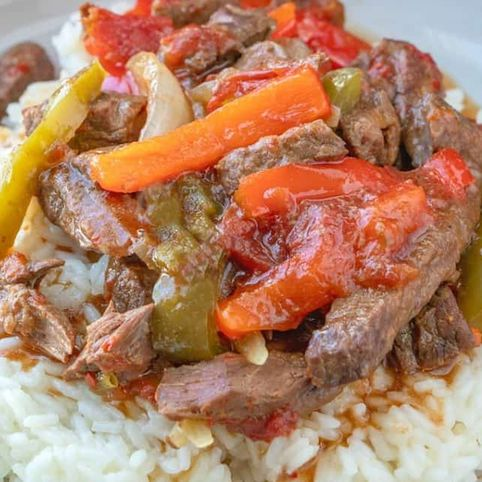 G. Fresh Tomato and Beef on Sizzling Rice